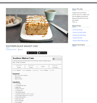User submitted articles and recipes